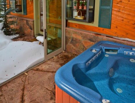 Take a relaxing soak in the hot tub.