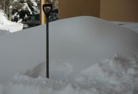 Winter in the Vail Valley! A buried snow shovel.